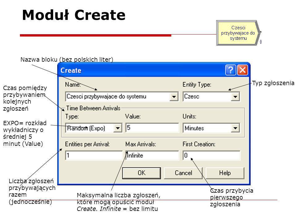 Moduł Create Nazwa bloku (bez polskich liter) Typ zgłoszenia Czas pomiędzy przybywaniem kolejnych zgłoszeń Liczba zgłoszeń przybywających razem (jedno