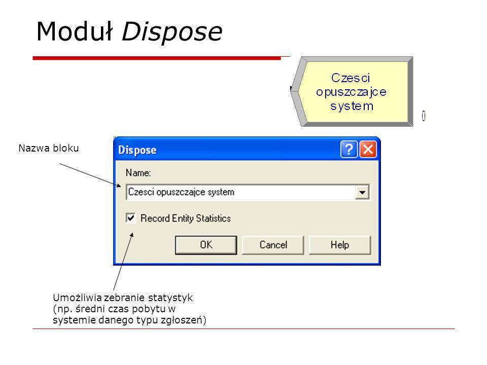 Moduł Dispose Nazwa bloku Umożliwia zebranie statystyk (np. średni czas pobytu w systemie danego typu zgłoszeń)