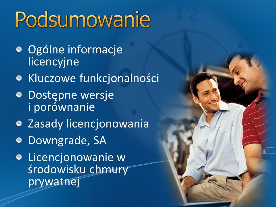 Ogólne informacje licencyjne Kluczowe funkcjonalności Dostępne wersje i porównanie Zasady licencjonowania Downgrade, SA Licencjonowanie w środowisku chmury prywatnej