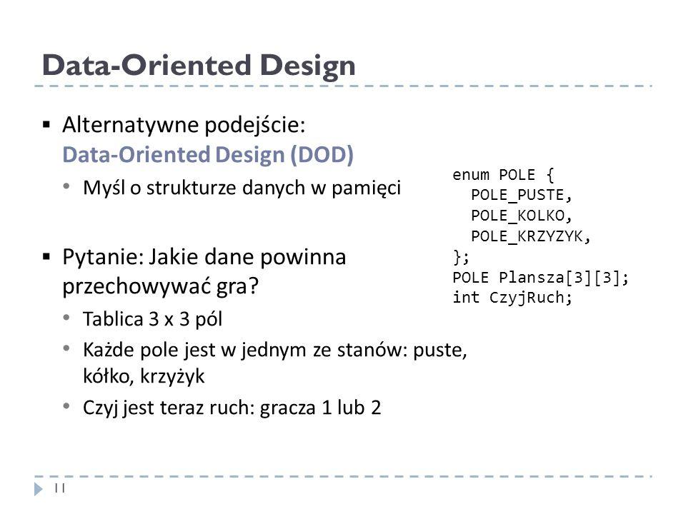 Data-Oriented Design Alternatywne podejście: Data-Oriented Design (DOD) Myśl o strukturze danych w pamięci Pytanie: Jakie dane powinna przechowywać gr