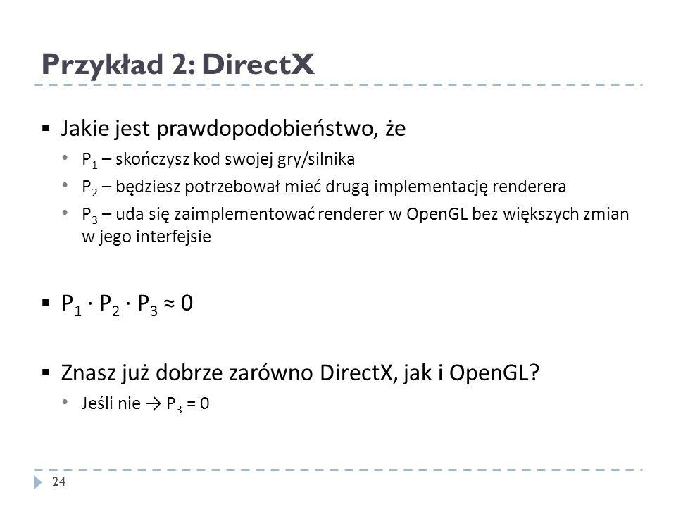 Przykład 2: DirectX Jakie jest prawdopodobieństwo, że P 1 – skończysz kod swojej gry/silnika P 2 – będziesz potrzebował mieć drugą implementację rende