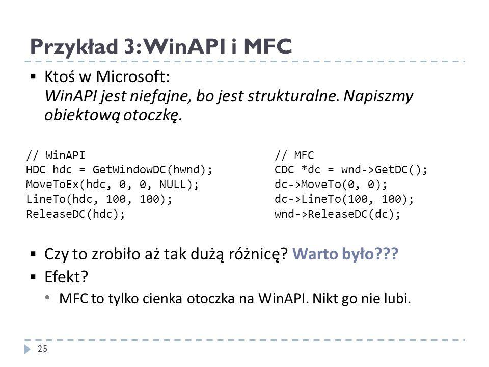 Przykład 3: WinAPI i MFC 25 Ktoś w Microsoft: WinAPI jest niefajne, bo jest strukturalne. Napiszmy obiektową otoczkę. Czy to zrobiło aż tak dużą różni