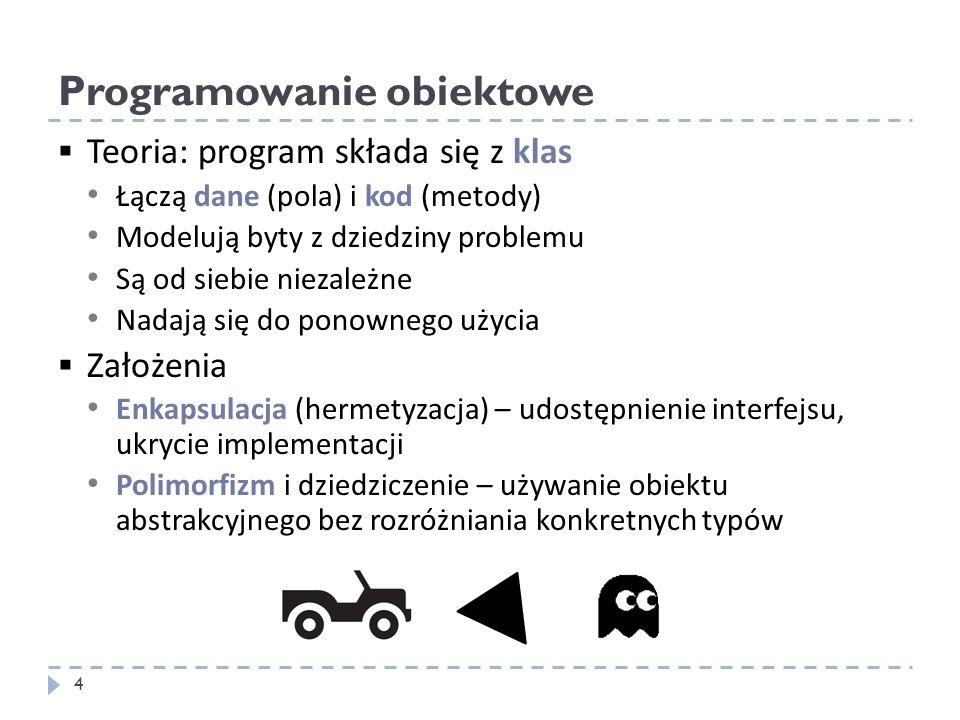 Programowanie obiektowe Teoria: program składa się z klas Łączą dane (pola) i kod (metody) Modelują byty z dziedziny problemu Są od siebie niezależne