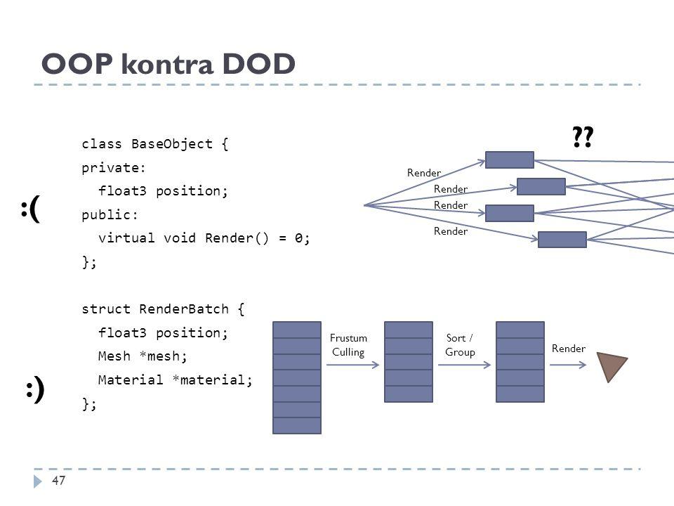 OOP kontra DOD class BaseObject { private: float3 position; public: virtual void Render() = 0; }; struct RenderBatch { float3 position; Mesh *mesh; Ma