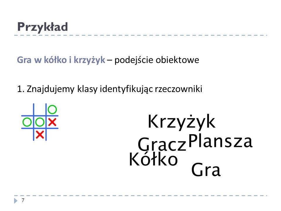 Przykład 7 Gra w kółko i krzyżyk – podejście obiektowe 1. Znajdujemy klasy identyfikując rzeczowniki