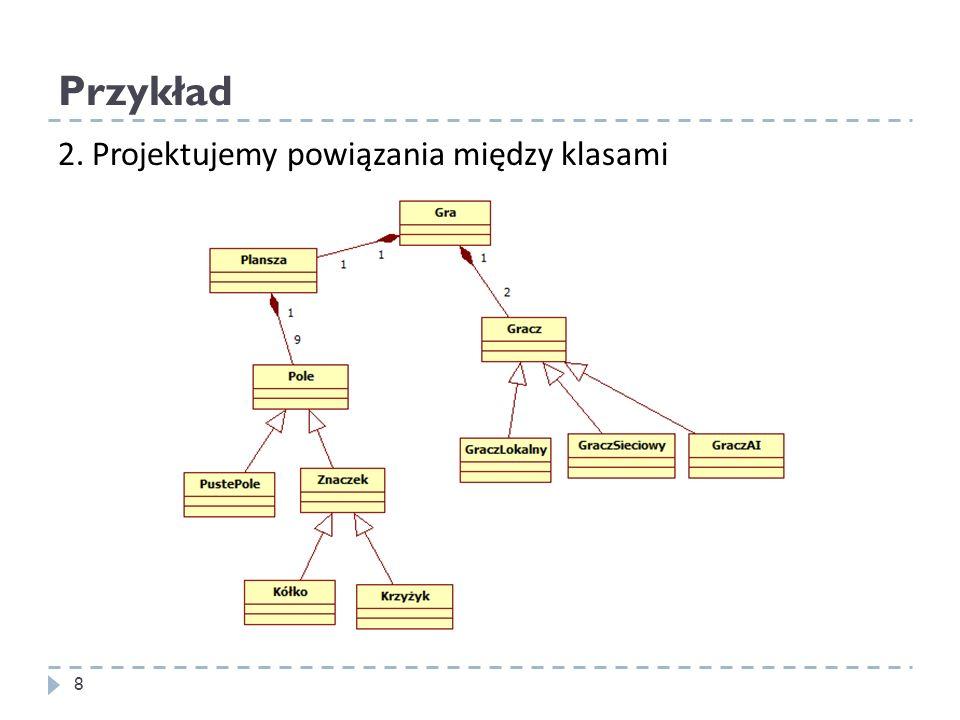 Enkapsulacja Teoria Udostępnia interfejs, ukrywa szczegóły implementacji Pozwala zmienić implementację bez zmian w interfejsie i w innych częściach kodu class Foo { public: int GetValue() { return Value; } void SetValue(int v) { Value = v; } private: int Value; }; 39