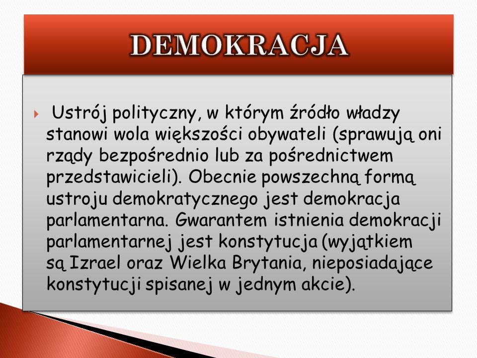 Ustrój polityczny, w którym źródło władzy stanowi wola większości obywateli (sprawują oni rządy bezpośrednio lub za pośrednictwem przedstawicieli). Ob