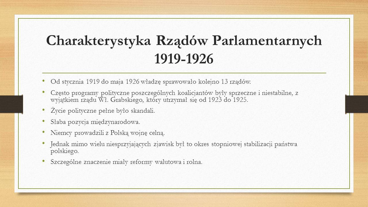Charakterystyka Rządów Parlamentarnych 1919-1926 Od stycznia 1919 do maja 1926 władzę sprawowało kolejno 13 rządów. Często programy polityczne poszcze