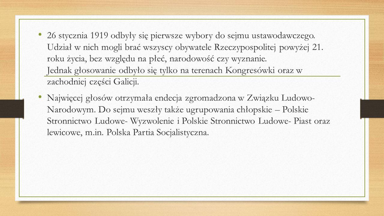 Scena polityczna II Rzeczypospolitej Polska scena polityczna była bardzo podzielona.