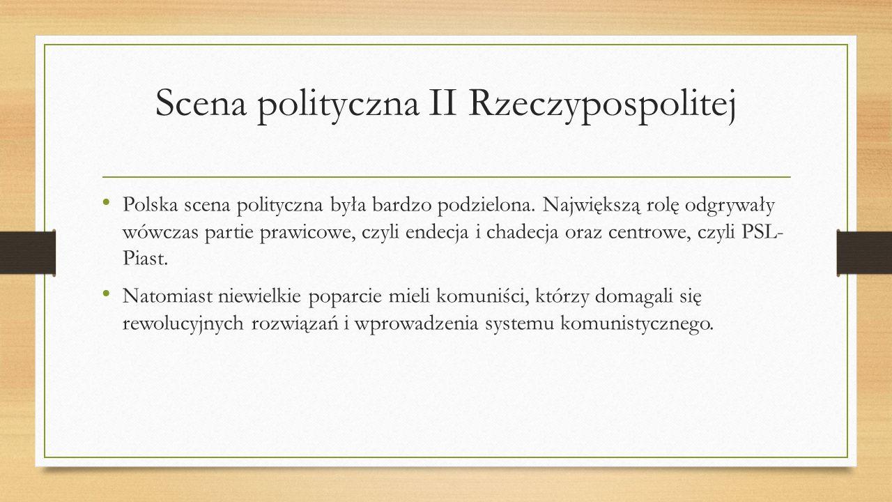 Scena polityczna II Rzeczypospolitej Polska scena polityczna była bardzo podzielona. Największą rolę odgrywały wówczas partie prawicowe, czyli endecja