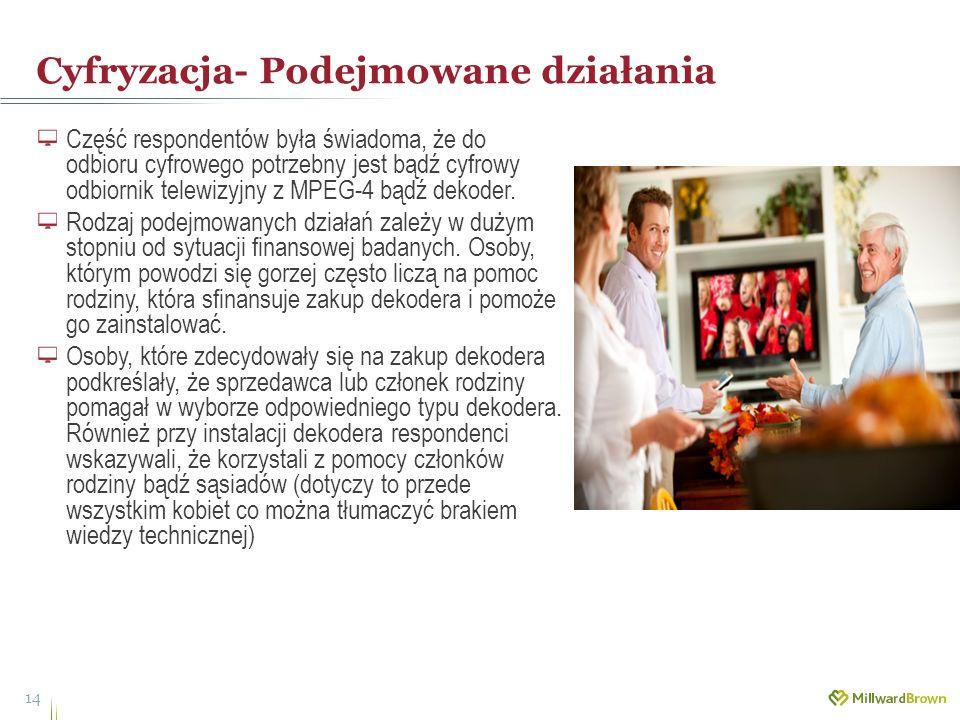 Cyfryzacja- Podejmowane działania 14 Część respondentów była świadoma, że do odbioru cyfrowego potrzebny jest bądź cyfrowy odbiornik telewizyjny z MPE