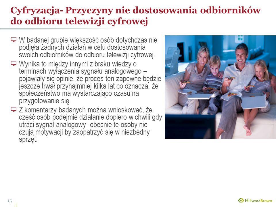 Cyfryzacja- Przyczyny nie dostosowania odbiorników do odbioru telewizji cyfrowej 15 W badanej grupie większość osób dotychczas nie podjęła żadnych dzi
