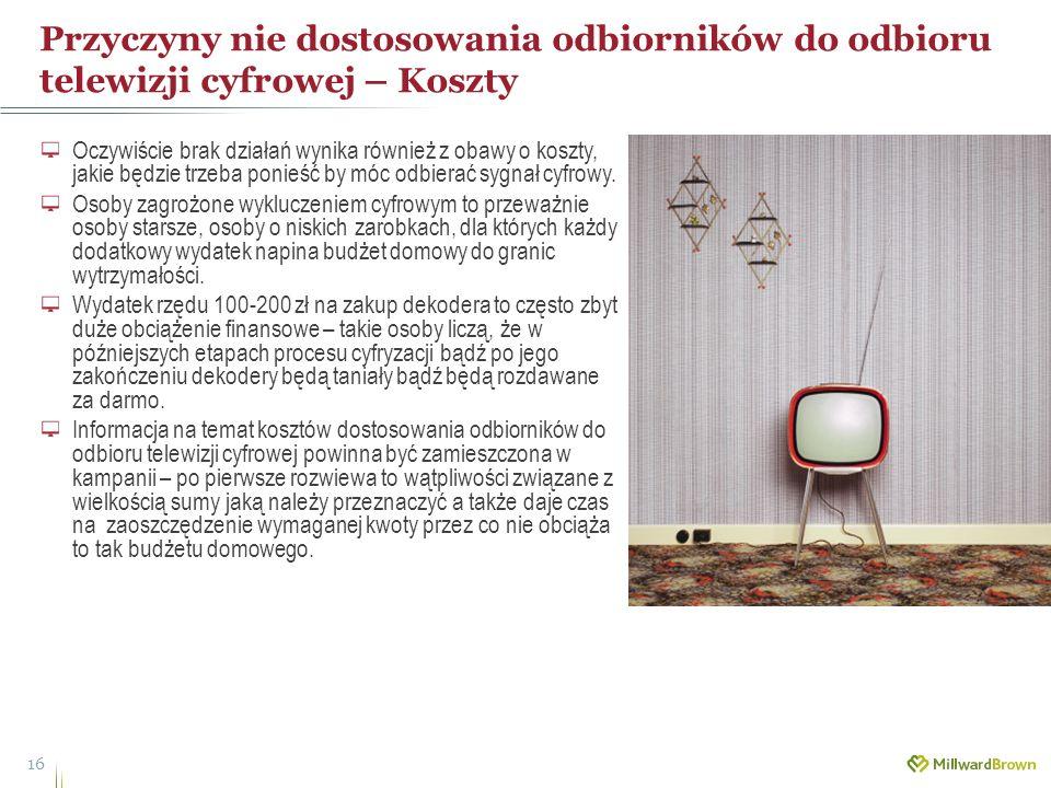Przyczyny nie dostosowania odbiorników do odbioru telewizji cyfrowej – Koszty 16 Oczywiście brak działań wynika również z obawy o koszty, jakie będzie