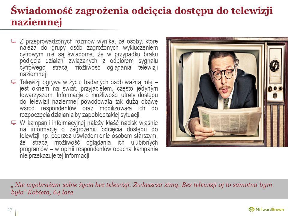 Świadomość zagrożenia odcięcia dostępu do telewizji naziemnej 17 Nie wyobrażam sobie życia bez telewizji. Zwłaszcza zimą. Bez telewizji oj to samotna