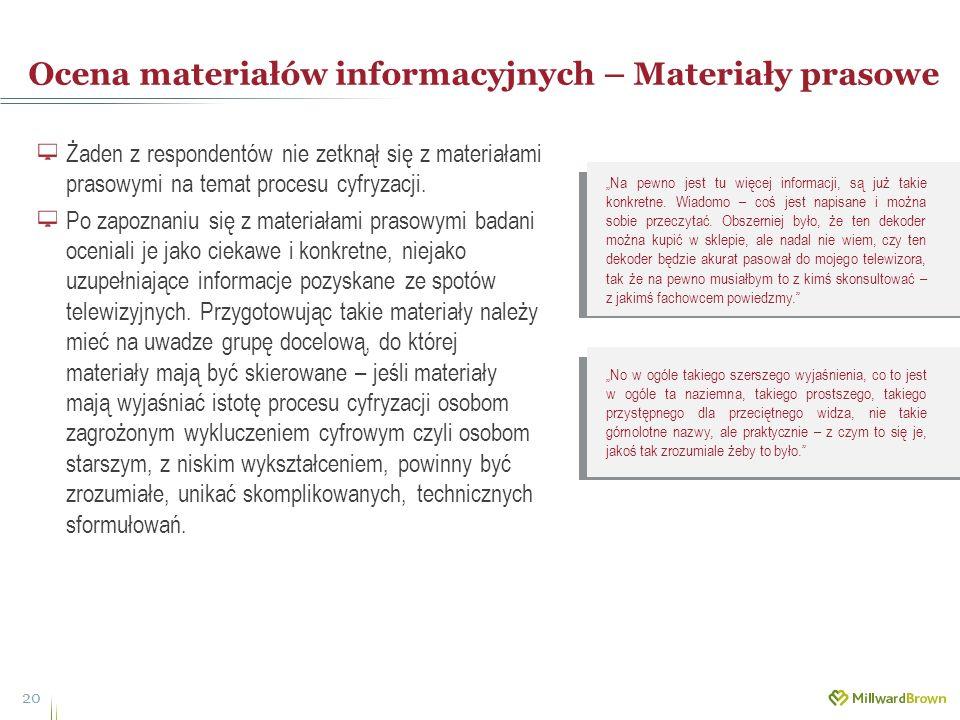 Ocena materiałów informacyjnych – Materiały prasowe 20 Żaden z respondentów nie zetknął się z materiałami prasowymi na temat procesu cyfryzacji. Po za