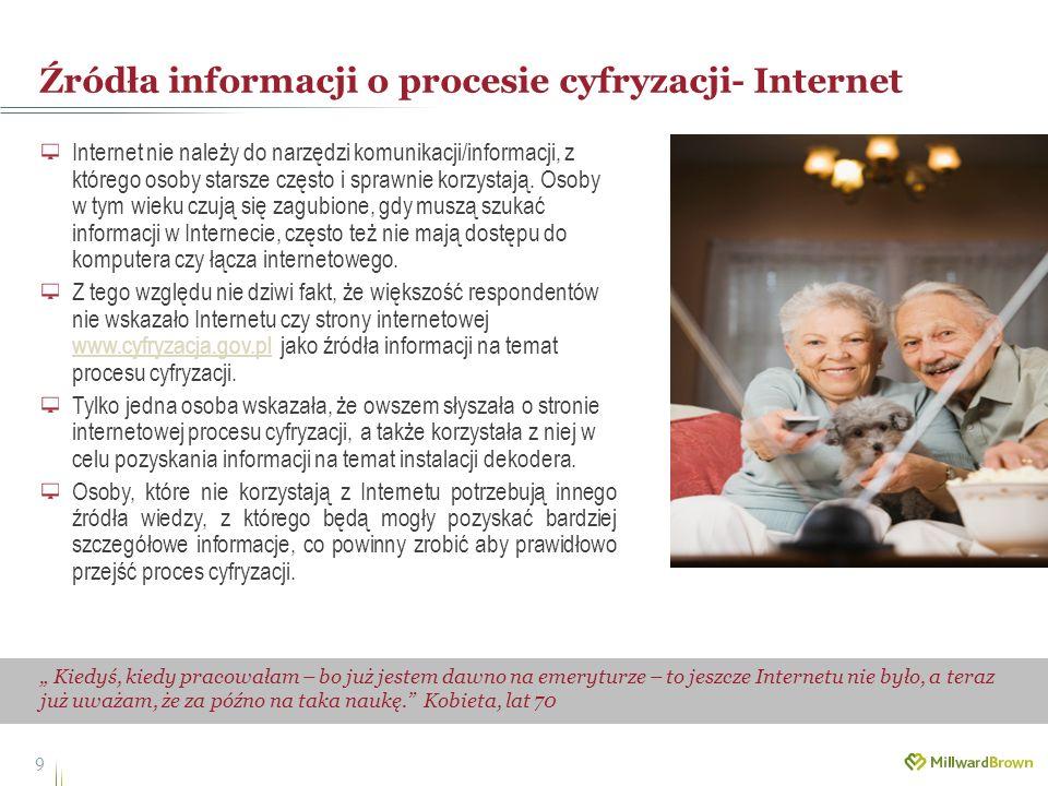 Źródła informacji o procesie cyfryzacji- Internet 9 Kiedyś, kiedy pracowałam – bo już jestem dawno na emeryturze – to jeszcze Internetu nie było, a te