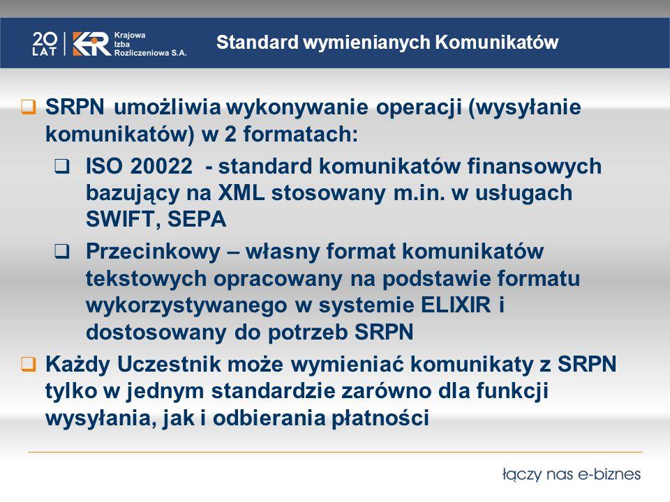 Standard wymienianych Komunikatów SRPN umożliwia wykonywanie operacji (wysyłanie komunikatów) w 2 formatach: ISO 20022 - standard komunikatów finansowych bazujący na XML stosowany m.in.