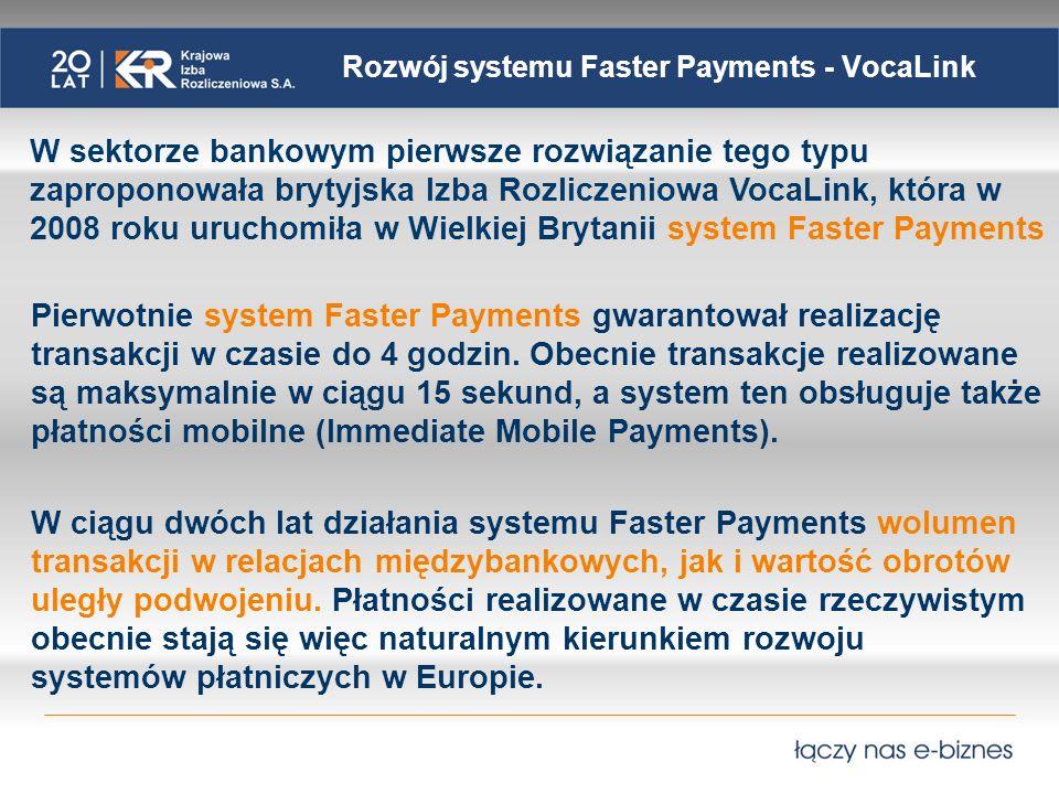 Rozwój systemu Faster Payments - VocaLink W sektorze bankowym pierwsze rozwiązanie tego typu zaproponowała brytyjska Izba Rozliczeniowa VocaLink, która w 2008 roku uruchomiła w Wielkiej Brytanii system Faster Payments Pierwotnie system Faster Payments gwarantował realizację transakcji w czasie do 4 godzin.