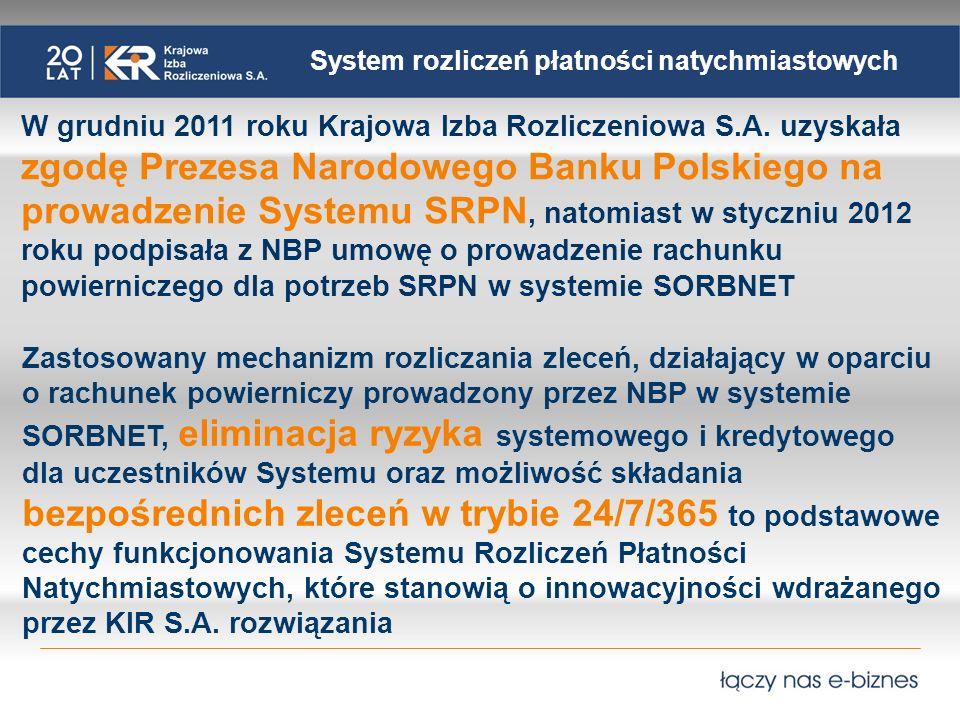 System rozliczeń płatności natychmiastowych W grudniu 2011 roku Krajowa Izba Rozliczeniowa S.A.