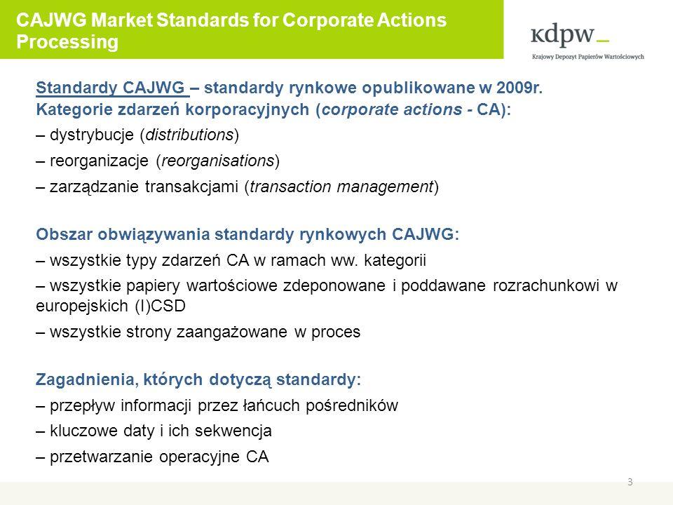 CAJWG Market Standards for Corporate Actions Processing 4 Standardy CAJWG zostały zatwierdzone przez wszystkie stowarzyszenia zaangażowane w ich przygotowanie: – EuropeanIssuers – ECSDA – EACH – FESE – EBF – EACB – ESBG – ESSF/SIFMA Obecnie standardy są w trakcie implementacji: – Market Implementation Group (MIG) działają w większości krajów europejskich – proces implementacji jest monitorowany przez ECSAs i raportowany do CESAME2