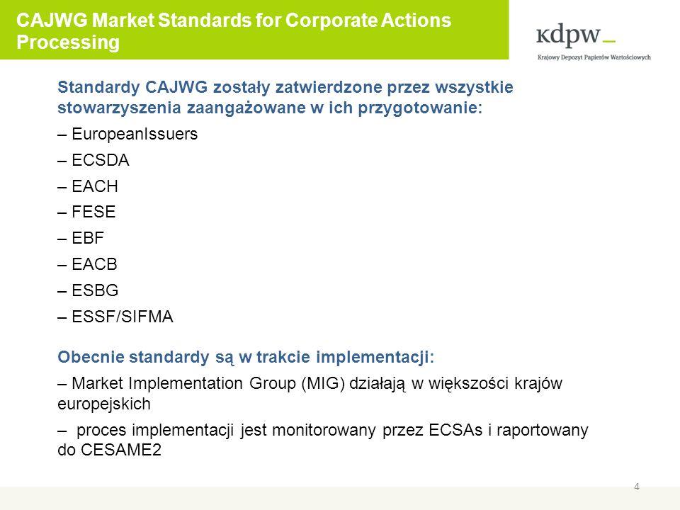 CAJWG Market Standards for Corporate Actions Processing 5 Na zarządzanie transakcjami (transaction management) składają się: – market claims – stosowane wobec dystrybucji – tranformacje (transformations) – stosowane wobec reorganizacji – buyer protection – stosowane wobec zdarzeń z opcją wyboru Celem market claims jest zapewnienie, aby dystrybuowane świadczenie emitenta zostało dostarczone do uprawionej strony transakcji w toku Celem transformacji (transformations) jest zapewnienie aby oryginalna transakcja, której dotknęła reorganizacja, była nadal realizowana zgodnie ze swoim cyklem życiowym Celem buyer protection jest zapewnienie aby kupujący, będący stroną transakcji w toku, który w wyniku zdarzenia CA nabył opcjonalne prawo, mógł je wykonać zgodnie ze swoją wolą, na podstawie odpowiedniej instrukcji przekazanej sprzedającemu