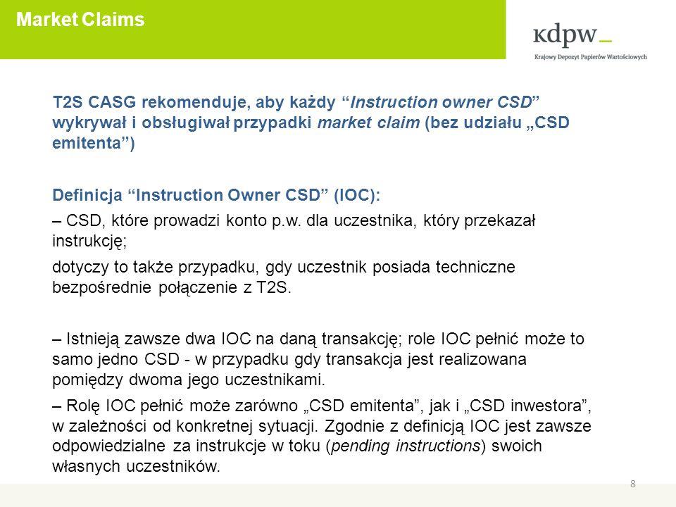 Market Claims 8 T2S CASG rekomenduje, aby każdy Instruction owner CSD wykrywał i obsługiwał przypadki market claim (bez udziału CSD emitenta) Definicja Instruction Owner CSD (IOC): – CSD, które prowadzi konto p.w.