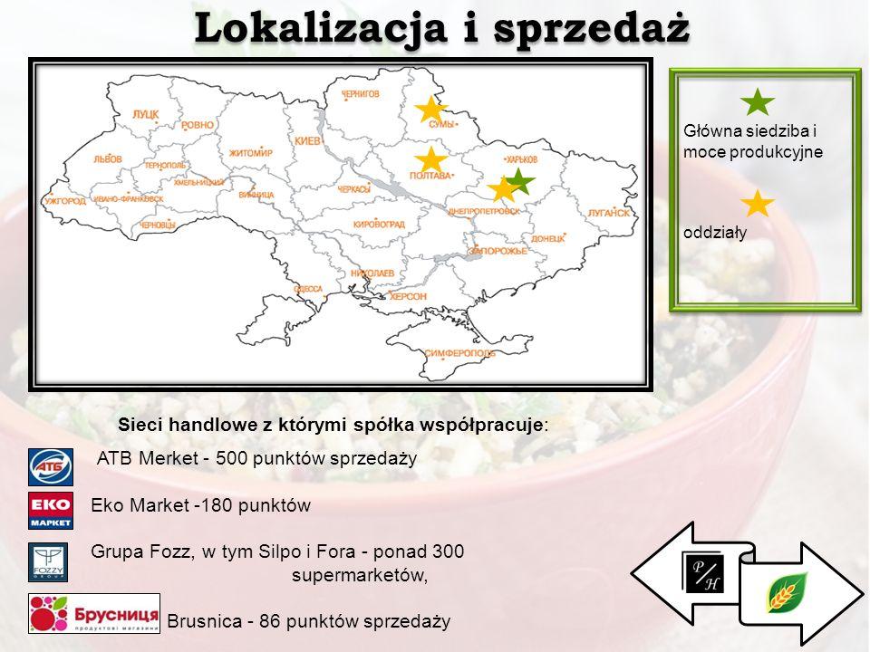 . Lokalizacja i sprzedaż Główna siedziba i moce produkcyjne oddziały Sieci handlowe z którymi spółka współpracuje: ATB Merket - 500 punktów sprzedaży