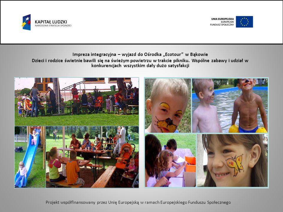 Impreza integracyjna – wyjazd do Ośrodka Ecotour w Bąkowie Dzieci i rodzice świetnie bawili się na świeżym powietrzu w trakcie pikniku.