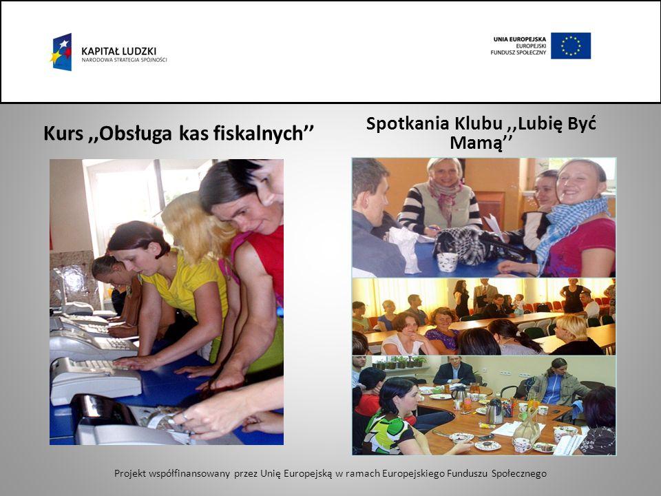 Kurs,,Obsługa kas fiskalnych Spotkania Klubu,,Lubię Być Mamą Projekt współfinansowany przez Unię Europejską w ramach Europejskiego Funduszu Społecznego
