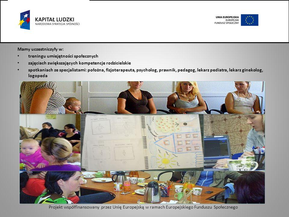 Mamy uczestniczyły w: treningu umiejętności społecznych zajęciach zwiększających kompetencje rodzicielskie spotkaniach ze specjalistami: położna, fizjoterapeuta, psycholog, prawnik, pedagog, lekarz pediatra, lekarz ginekolog, logopeda Projekt współfinansowany przez Unię Europejską w ramach Europejskiego Funduszu Społecznego