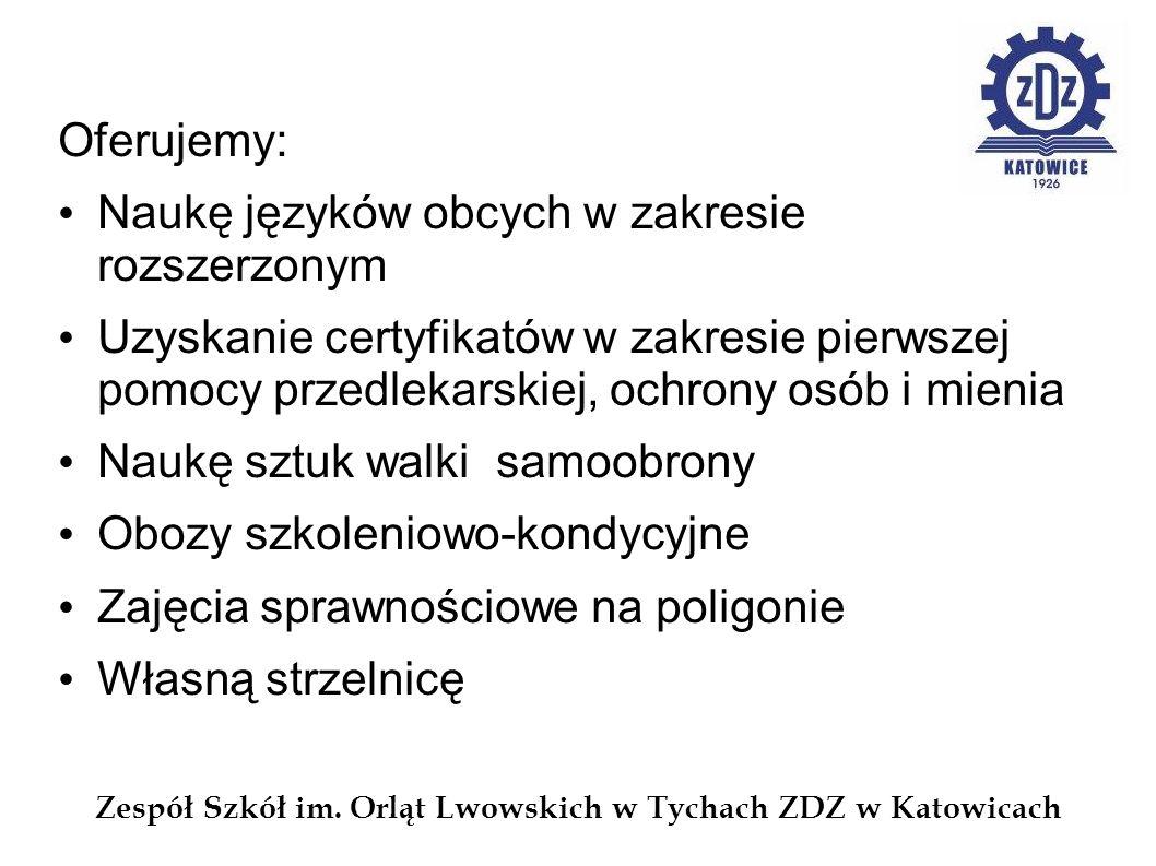 Oferujemy: Naukę języków obcych w zakresie rozszerzonym Uzyskanie certyfikatów w zakresie pierwszej pomocy przedlekarskiej, ochrony osób i mienia Nauk