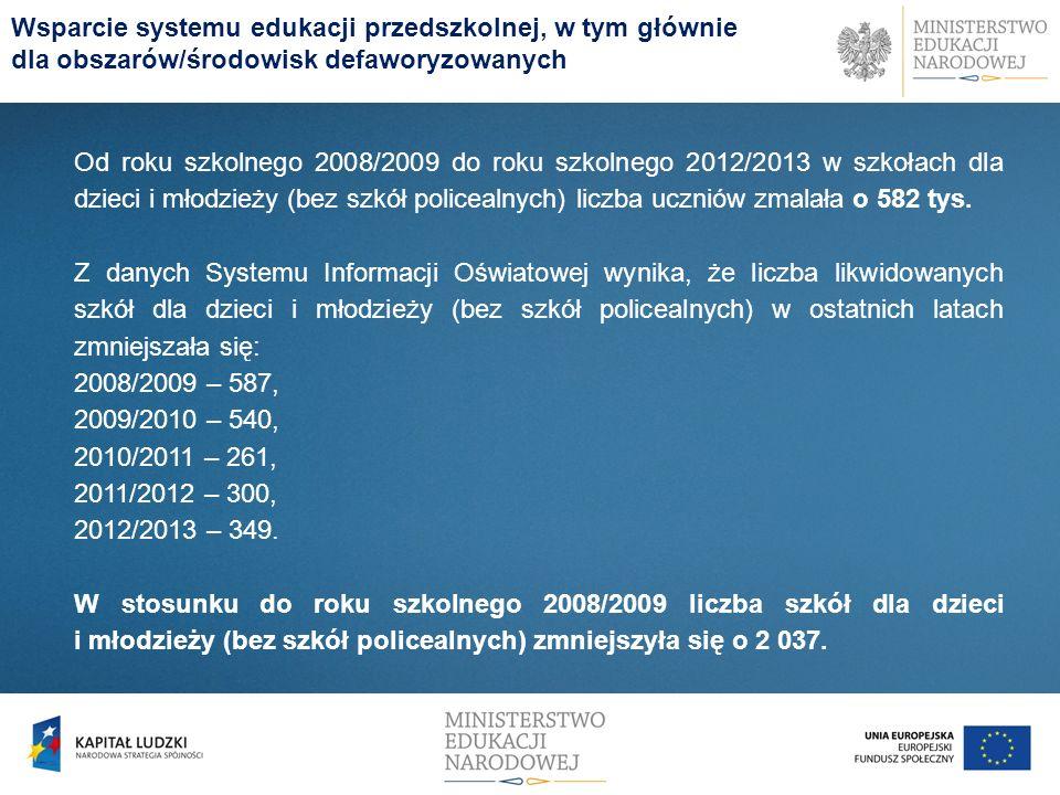 Od roku szkolnego 2008/2009 do roku szkolnego 2012/2013 w szkołach dla dzieci i młodzieży (bez szkół policealnych) liczba uczniów zmalała o 582 tys. Z