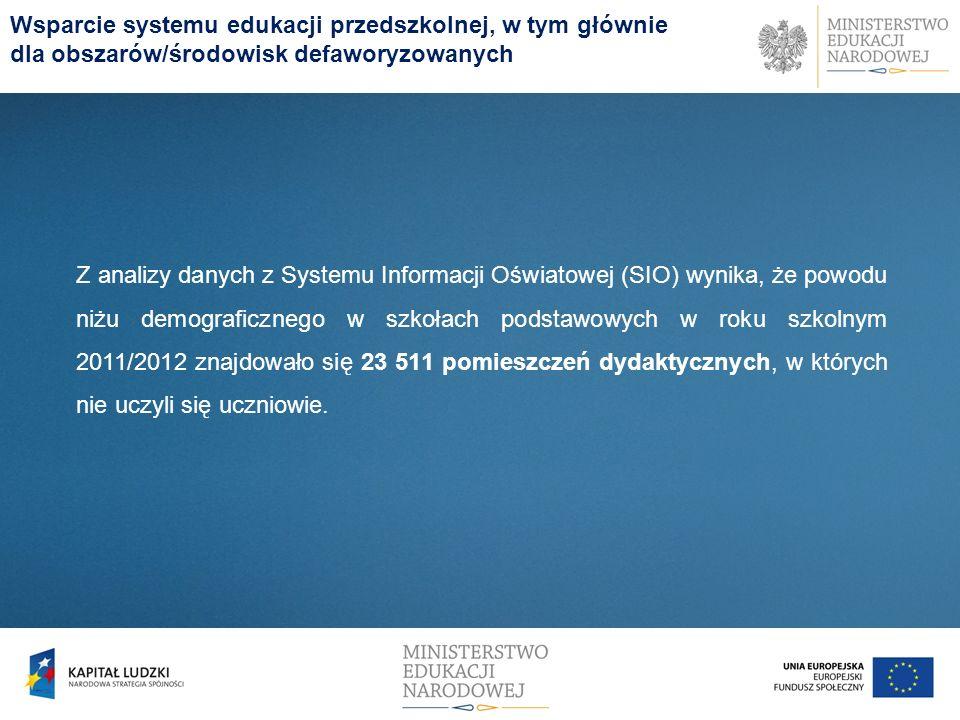 Wsparcie systemu edukacji przedszkolnej, w tym głównie dla obszarów/środowisk defaworyzowanych Z analizy danych z Systemu Informacji Oświatowej (SIO)