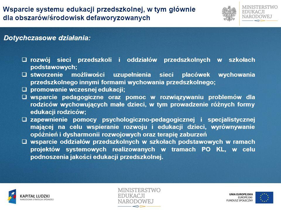 Dotychczasowe działania: rozwój sieci przedszkoli i oddziałów przedszkolnych w szkołach podstawowych; stworzenie możliwości uzupełnienia sieci placówe