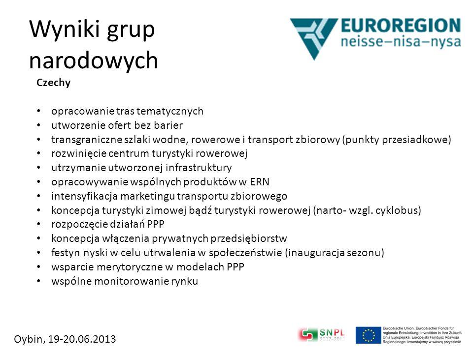 Wyniki grup narodowych Czechy opracowanie tras tematycznych utworzenie ofert bez barier transgraniczne szlaki wodne, rowerowe i transport zbiorowy (pu