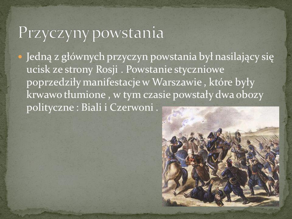 Jedną z głównych przyczyn powstania był nasilający się ucisk ze strony Rosji. Powstanie styczniowe poprzedziły manifestacje w Warszawie, które były kr