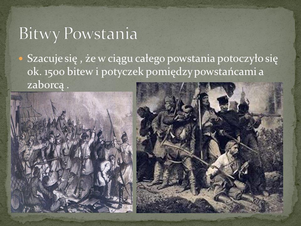 Szacuje się, że w ciągu całego powstania potoczyło się ok. 1500 bitew i potyczek pomiędzy powstańcami a zaborcą.