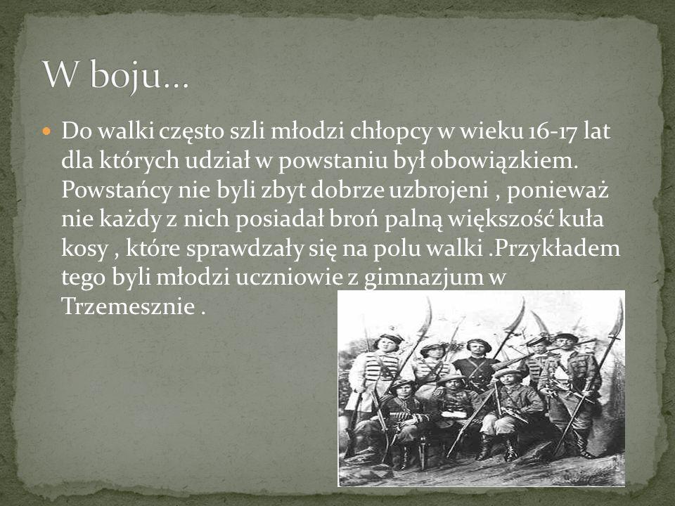 Do walki często szli młodzi chłopcy w wieku 16-17 lat dla których udział w powstaniu był obowiązkiem. Powstańcy nie byli zbyt dobrze uzbrojeni, poniew