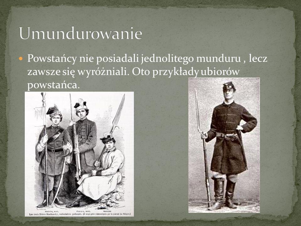 Powstańcy nie posiadali jednolitego munduru, lecz zawsze się wyróżniali. Oto przykłady ubiorów powstańca.