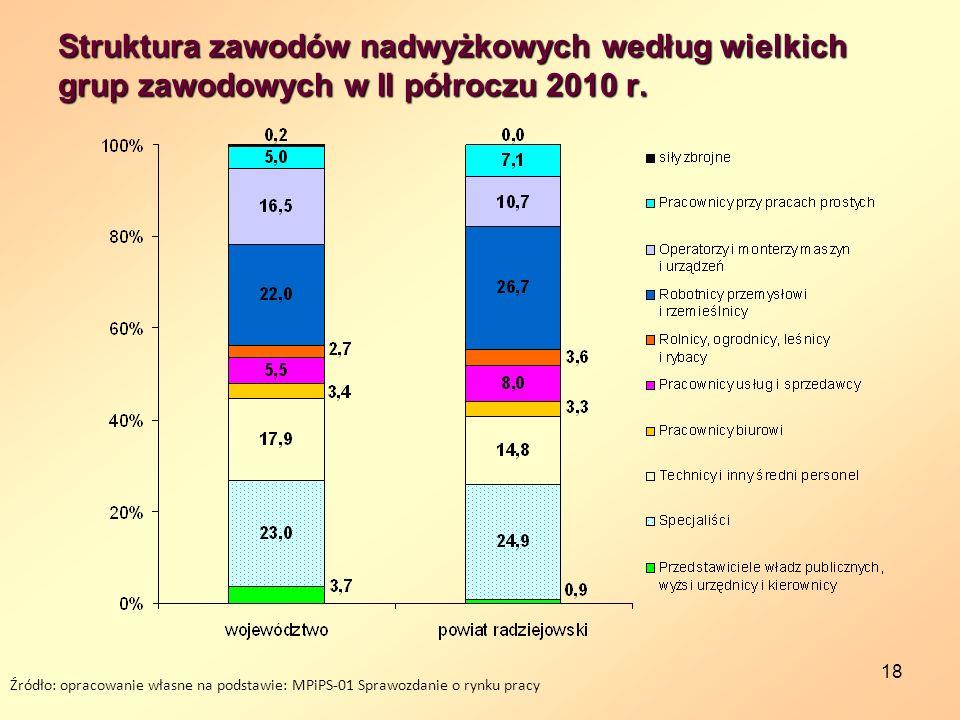 18 Struktura zawodów nadwyżkowych według wielkich grup zawodowych w II półroczu 2010 r. Źródło: opracowanie własne na podstawie: MPiPS-01 Sprawozdanie