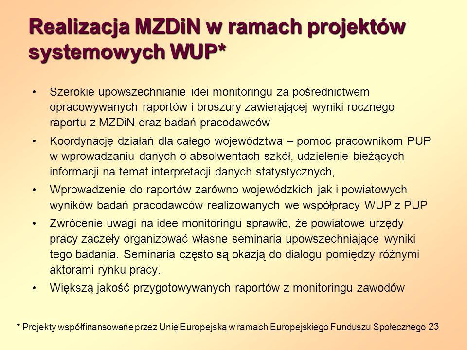 23 Realizacja MZDiN w ramach projektów systemowych WUP* Szerokie upowszechnianie idei monitoringu za pośrednictwem opracowywanych raportów i broszury