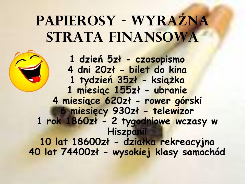 PAPIEROSY - WYRA Ź NA STRATA FINANSOWA 1 dzień 5zł - czasopismo 4 dni 20zł - bilet do kina 1 tydzień 35zł - książka 1 miesiąc 155zł - ubranie 4 miesią