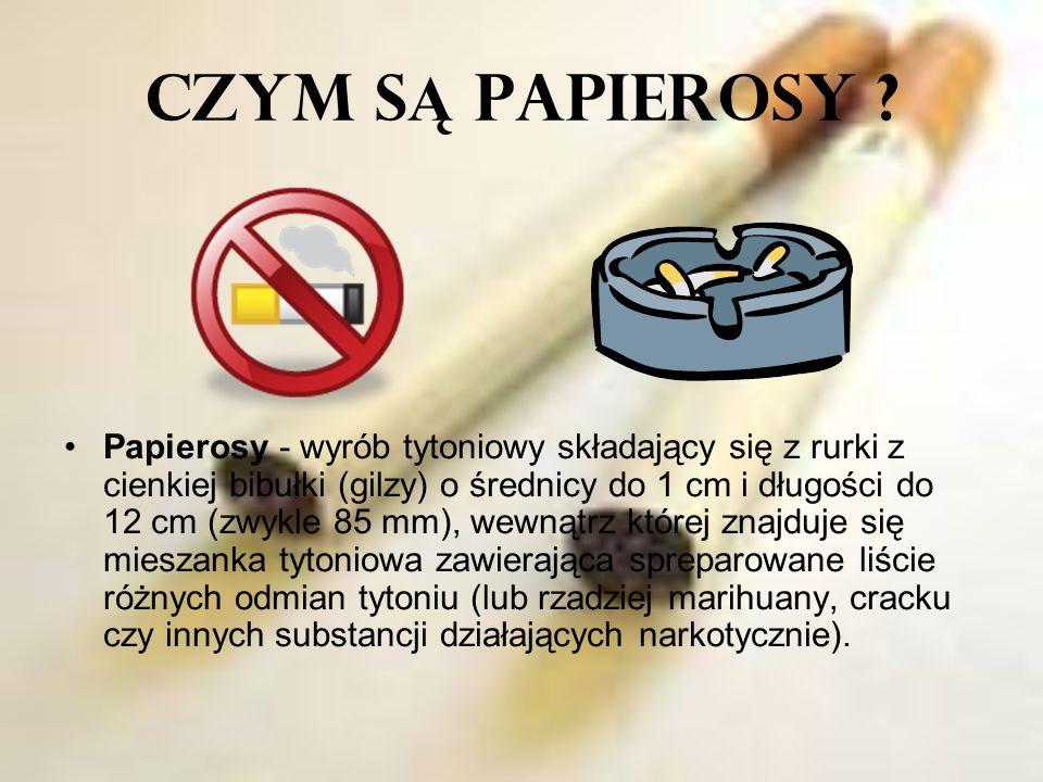 CZYM S Ą PAPIEROSY ? Papierosy - wyrób tytoniowy składający się z rurki z cienkiej bibułki (gilzy) o średnicy do 1 cm i długości do 12 cm (zwykle 85 m