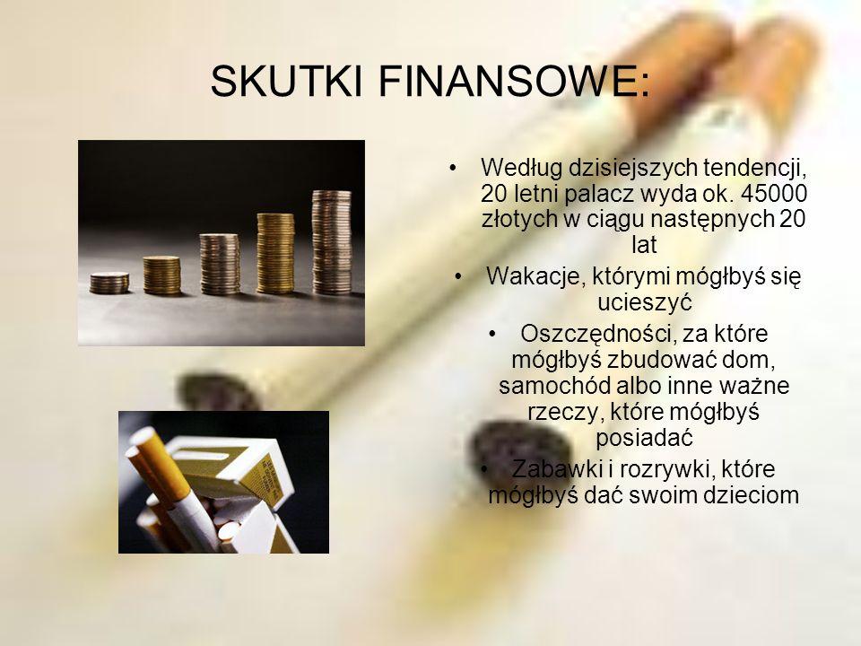 SKUTKI FINANSOWE: Według dzisiejszych tendencji, 20 letni palacz wyda ok. 45000 złotych w ciągu następnych 20 lat Wakacje, którymi mógłbyś się ucieszy