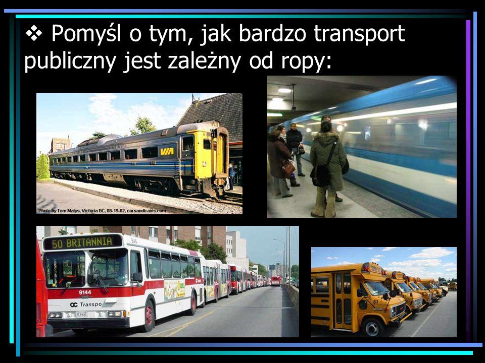 Pomyśl o tym, jak bardzo transport publiczny jest zależny od ropy: