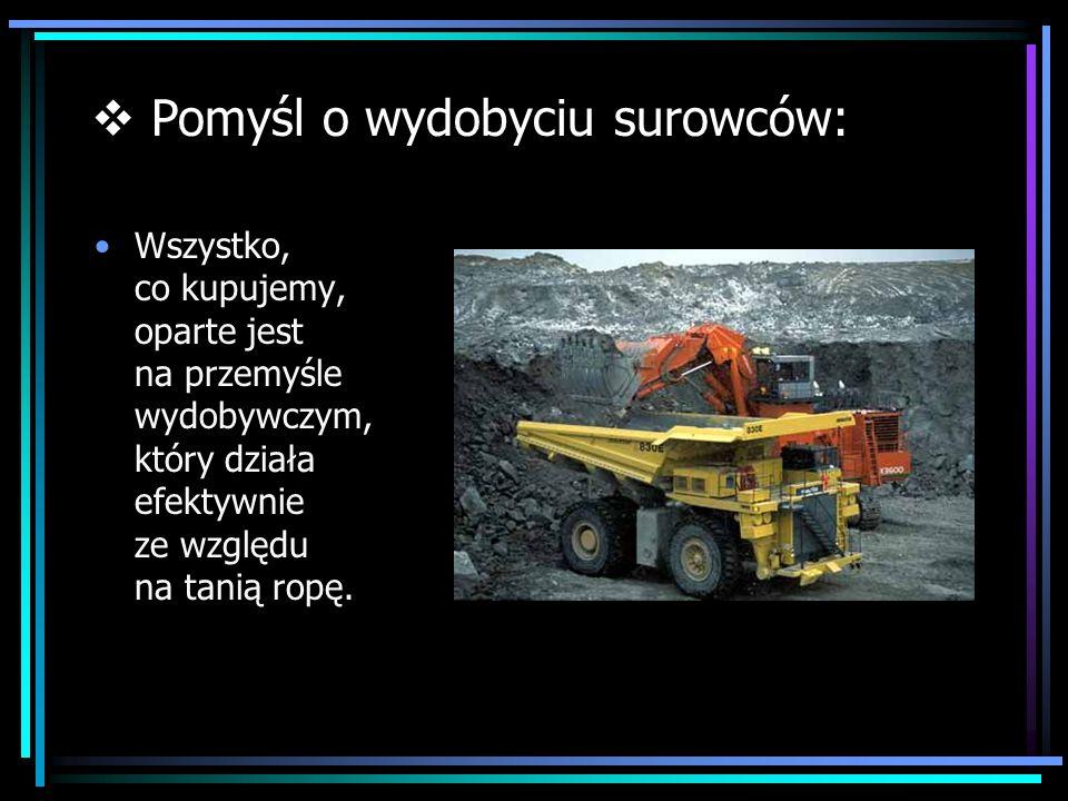 Wszystko, co kupujemy, oparte jest na przemyśle wydobywczym, który działa efektywnie ze względu na tanią ropę. Pomyśl o wydobyciu surowców: