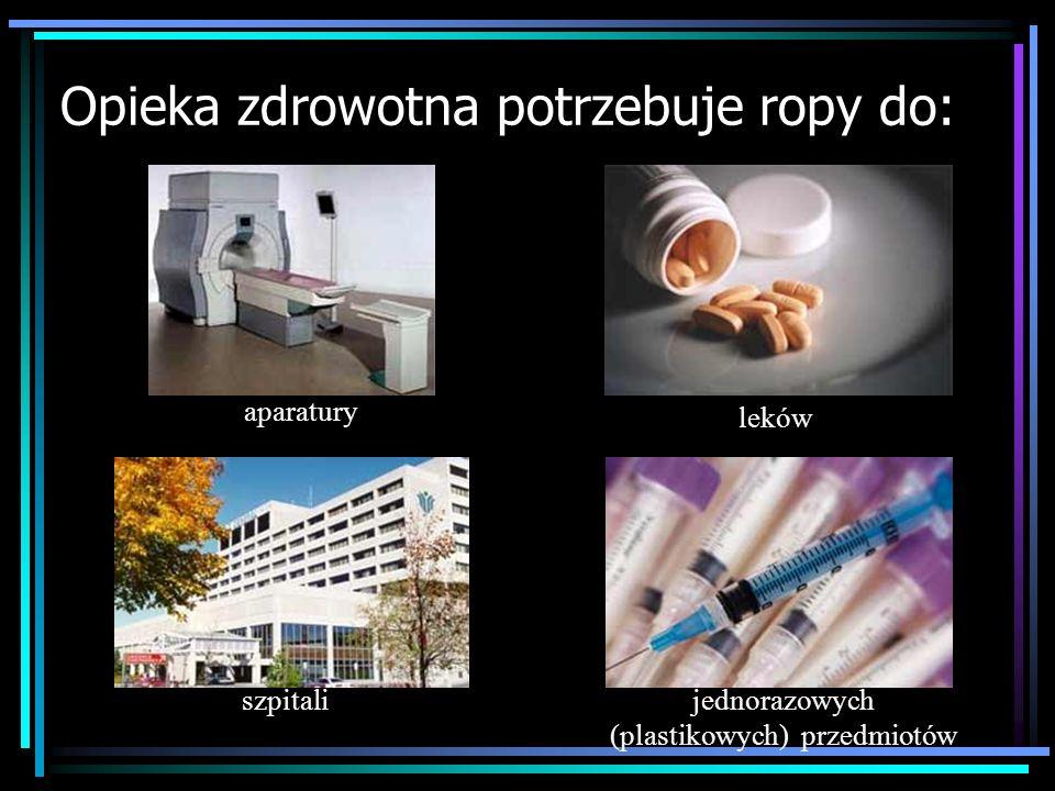 Opieka zdrowotna potrzebuje ropy do: szpitali aparatury jednorazowych (plastikowych) przedmiotów leków