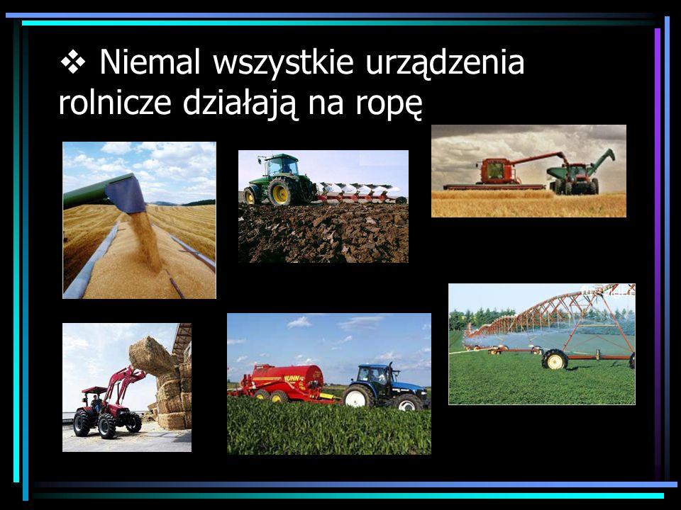 Niemal wszystkie urządzenia rolnicze działają na ropę