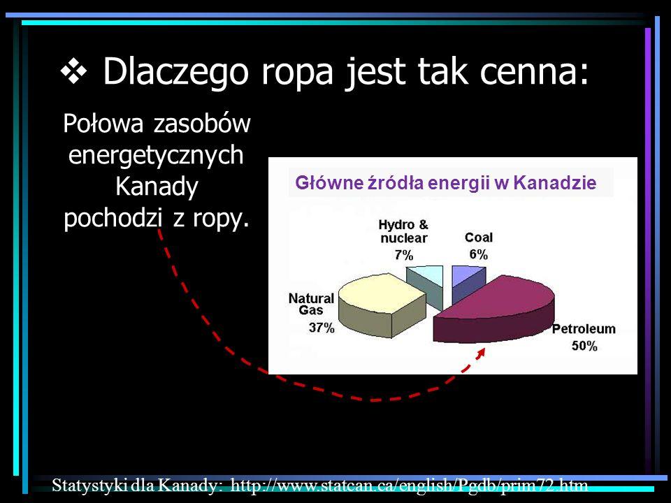 Połowa zasobów energetycznych Kanady pochodzi z ropy. Statystyki dla Kanady: http://www.statcan.ca/english/Pgdb/prim72.htm Dlaczego ropa jest tak cenn