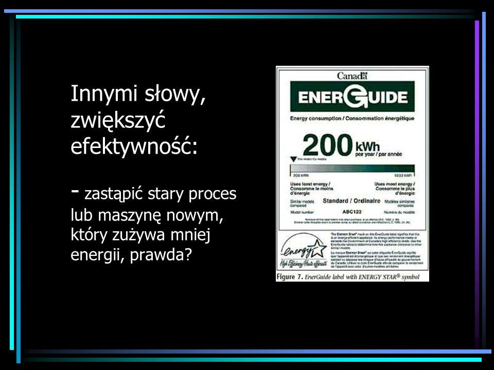 Innymi słowy, zwiększyć efektywność: - zastąpić stary proces lub maszynę nowym, który zużywa mniej energii, prawda?